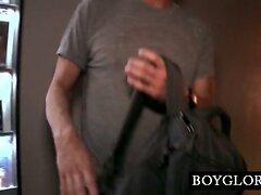 Straight hard cock fucking gay mouth on gloryhole