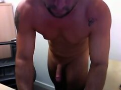 Straight married guy stroking his hard cock