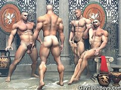 3D Muscled Males Fuck Straight Boys!