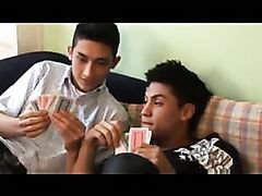 Card playing young men fuck